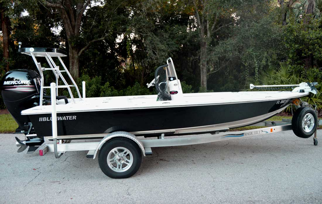 Our custom Bluwater flats boat, desinged to be the best boat possible for our Fort Myers fishing charters.