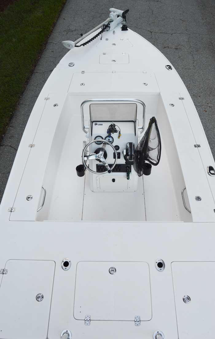 Top View of our custom Bluewater flats boat used on our Fort Myers fishing charters