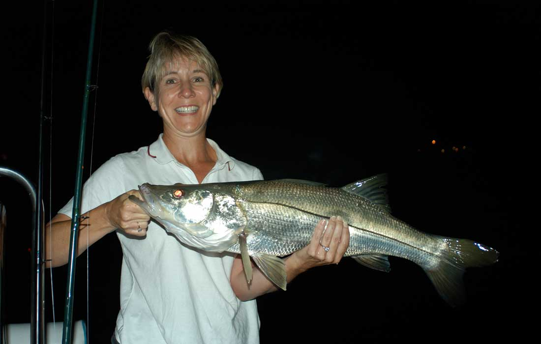 Giant snook caught on a night fishing charter in Ft Myers